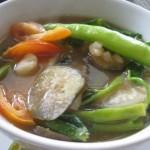 with kangkong, eggplant, radish, taro, tomatoes...
