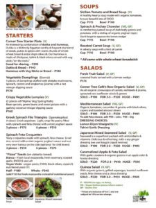 Corner Tree Menu - Starters and Soups