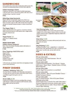 Corner Tree Menu - Sandwiches, Pinoy, and Extra